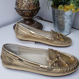 Michael Kors Gold Metallic Slip On Comfort flat 8M